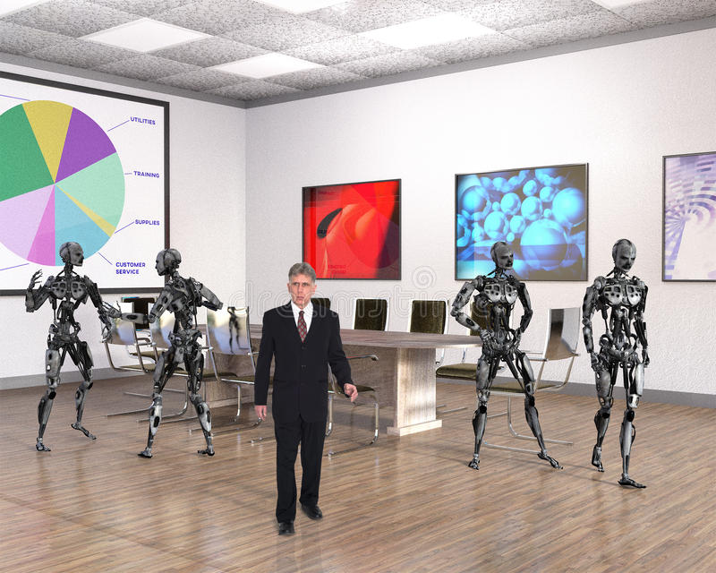 Business Office, Technology, Robots, Sales. A businessman walks through a business office with robots. Abstract concept can be used for sales, marketing royalty free stock photo