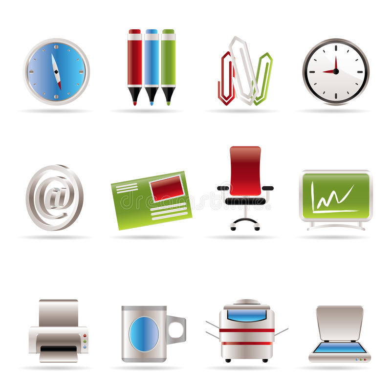 Business and Office tools icons royalty free illustration