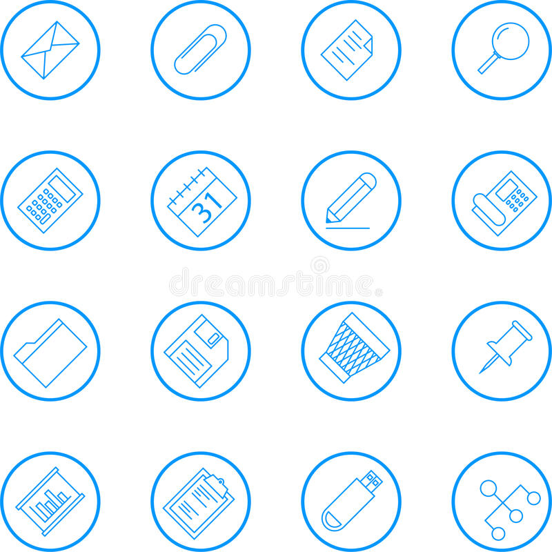 Business And Office Vector Line Icon Collection stock illustration