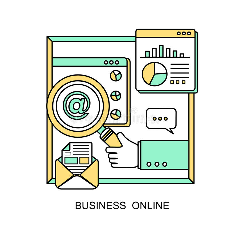 Business online concept. A hand holding a magnifying glass in line style vector illustration