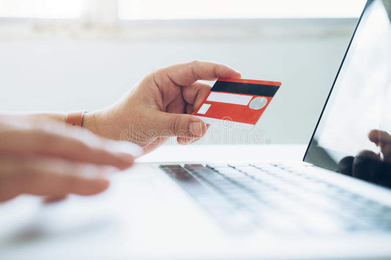 Business online shopping concept. People shopping and pay by credeit card. royalty free stock image