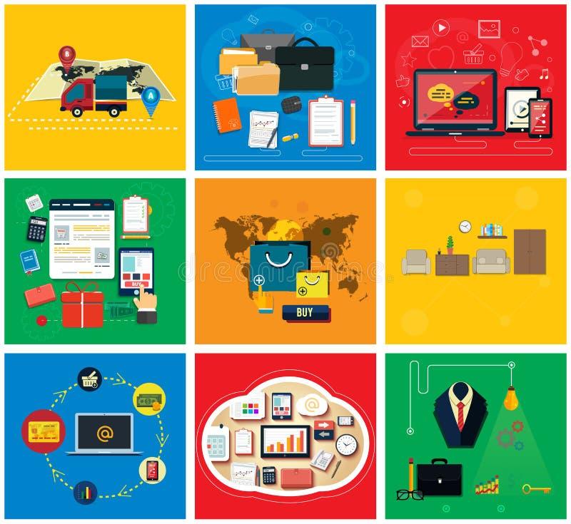 Business Online, Social Media, Delivery Concept vector illustration