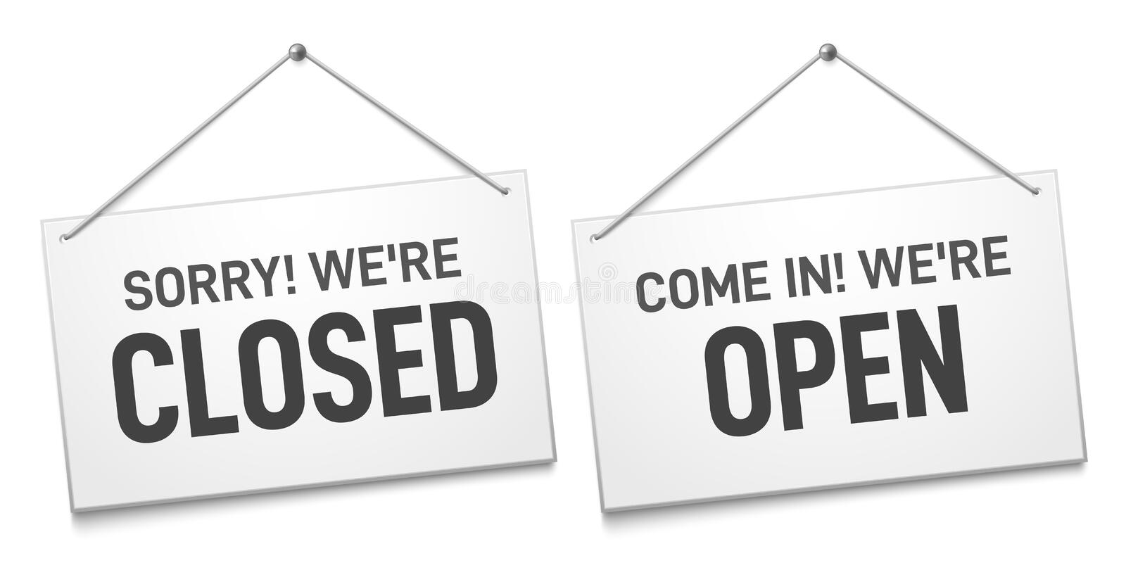 Business open closed sign. Shop door signs boards, come in and sorry we are closed outdoors signboard isolated vector vector illustration