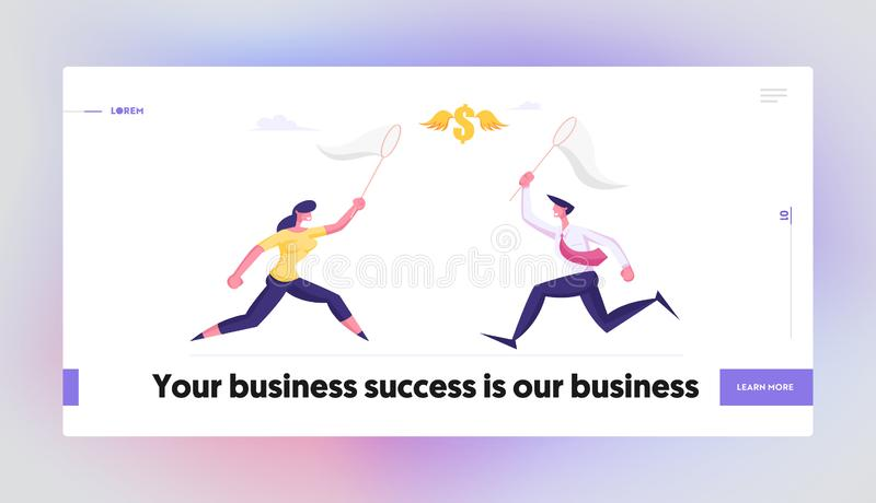 Business Opportunity Creative Idea Website Landing Page. Businesspeople Catching Flying Dollar Sign with Butterfly Net. Financial Income Source Search Web Page stock illustration