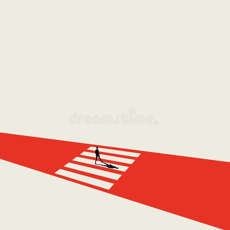 Business opportunity and decision vector concept with businessman on pedestrian crossing. Minimalist art style. Symbol. Of achievement, overcome obstacles and royalty free illustration