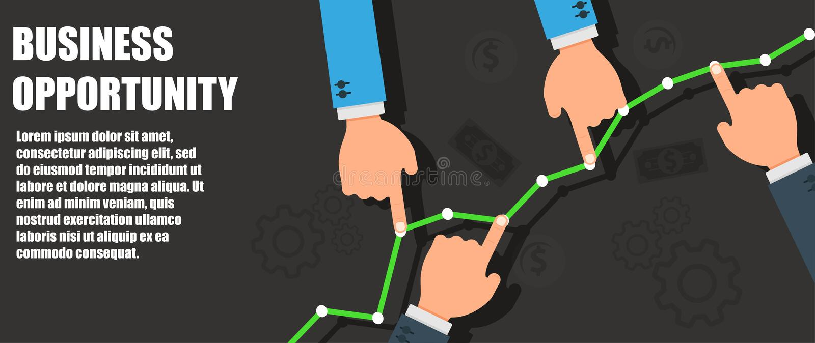 Business opportunity success concept symbol. Achievement management growth businessman motivation. Job career competition vector. Investment marketing stock illustration