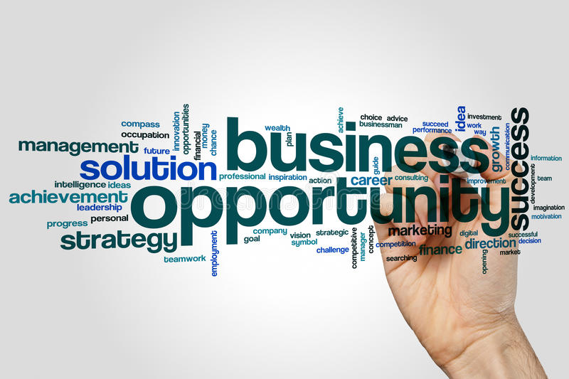Business opportunity word cloud concept on grey background royalty free stock photos