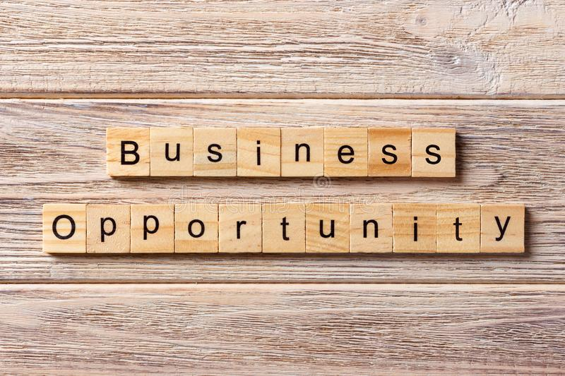 Business opportunity word written on wood block. Business opportunity text on table, concept.  stock photos