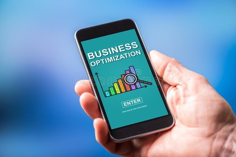Business optimization concept on a smartphone royalty free stock photography