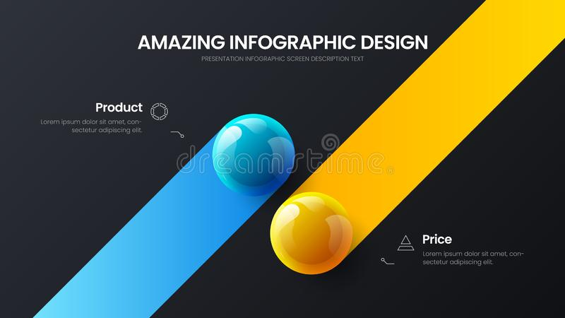 Business 2 option infographic presentation vector balls illustration template. Corporate report design layout. Business 2 option infographic presentation vector royalty free illustration