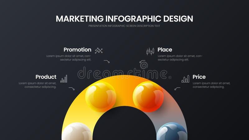 4 option infographic vector 3D colorful balls illustration. Marketing analytics data report design layout. Business 4 option infographic presentation vector 3D royalty free illustration