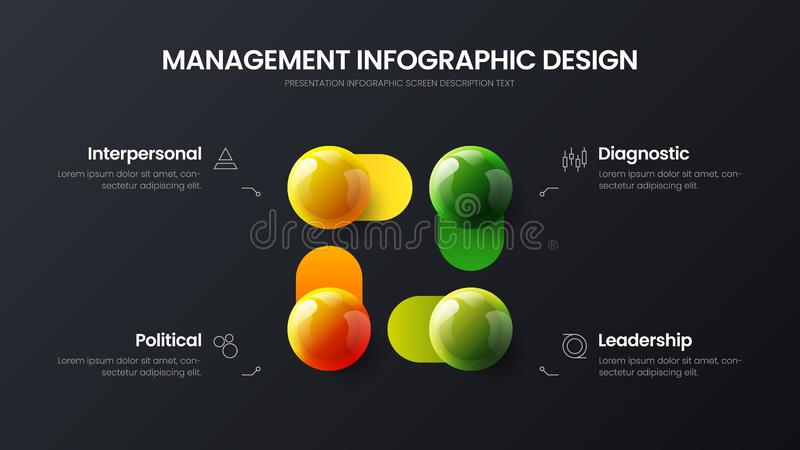 Business 4 option infographic presentation vector 3D colorful balls illustration. Marketing analytics data report design layout. Business 4 option infographic vector illustration