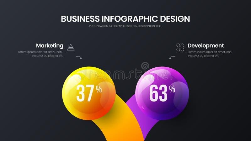 Business 2 option infographic presentation vector 3D colorful balls illustration. Marketing analytics data report design layout. Business 2 option infographic stock illustration