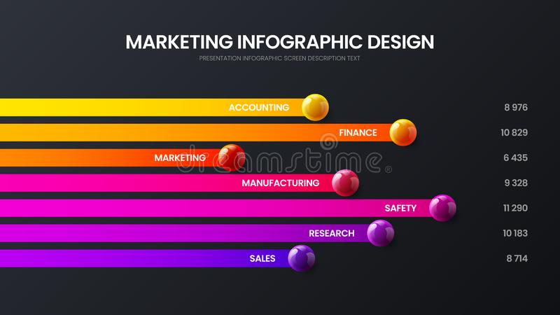 Business 7 option infographic vector illustration. Marketing report horizontal bar chart design layout. Business 7 option infographic presentation vector 3D royalty free illustration