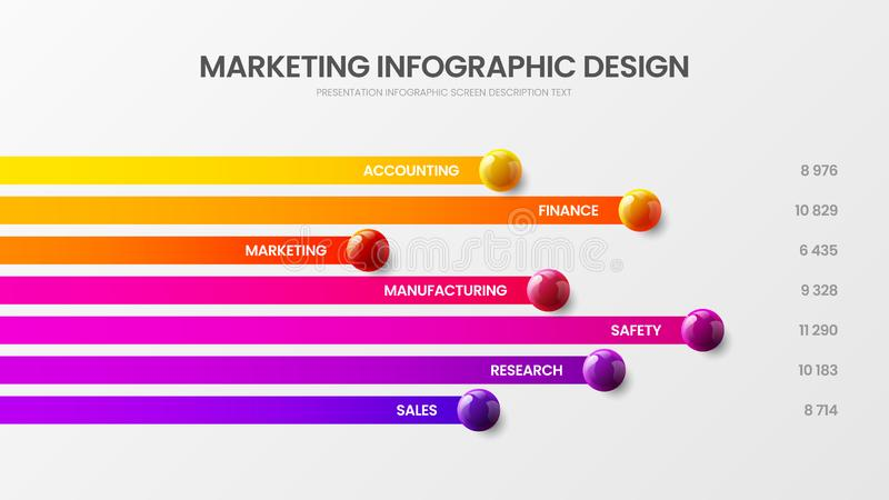 Business 7 option infographic vector illustration. Marketing report horizontal bar chart design layout. Business 7 option infographic presentation vector 3D stock illustration