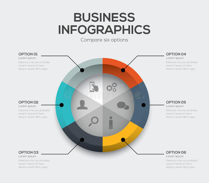 Business options vector. Modern ui infographics with six choices vector illustration