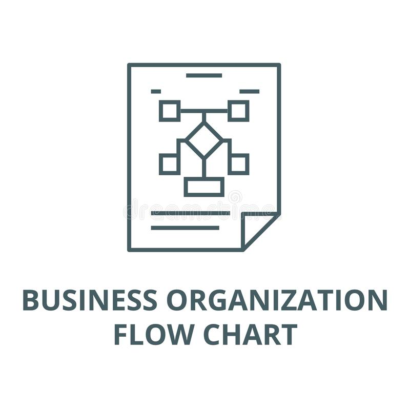 Business organization,flow chart line icon, vector. Business organization,flow chart outline sign, concept symbol, flat. Business organization,flow chart line royalty free illustration