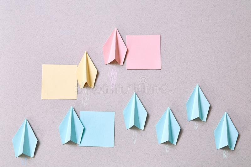 Business organization hierarchy and structure: Paper planes and stickers for inscriptions. Layout. Business organization hierarchy and structure: Paper planes royalty free stock photography