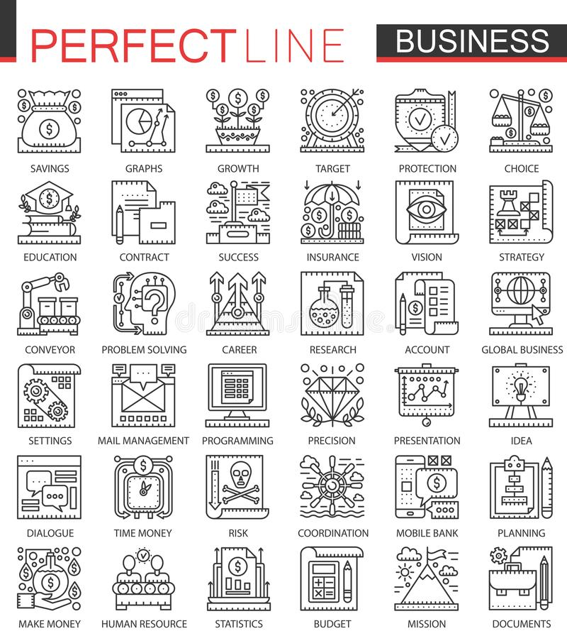 Business outline mini concept symbols. Finance modern stroke linear style illustrations set. Perfect thin line icons. vector illustration