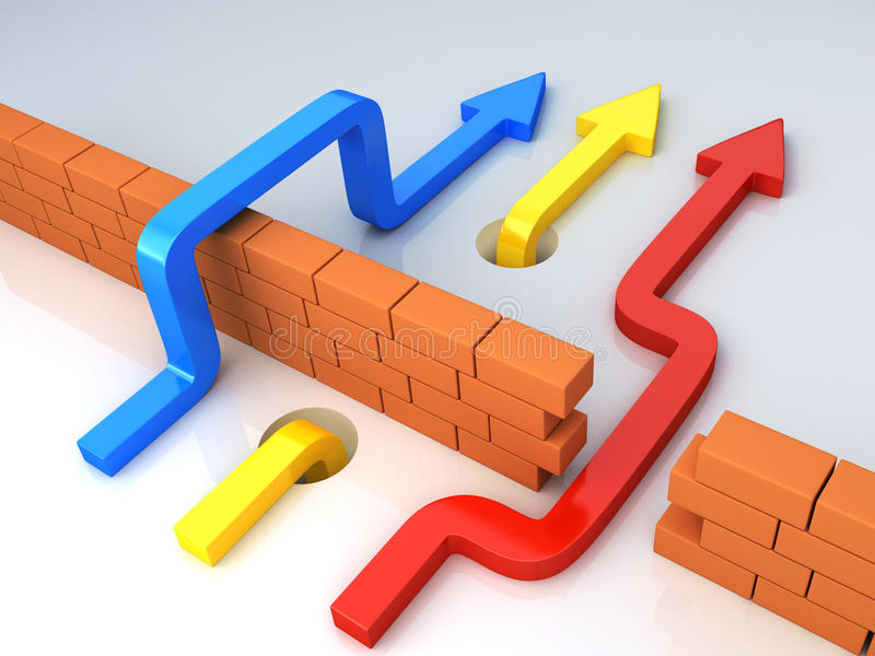 Business overcomes obstacles. conceptual 3d illustration. Business overcomes obstacles applying different strategy. Multicolor arrows goes across brick wall