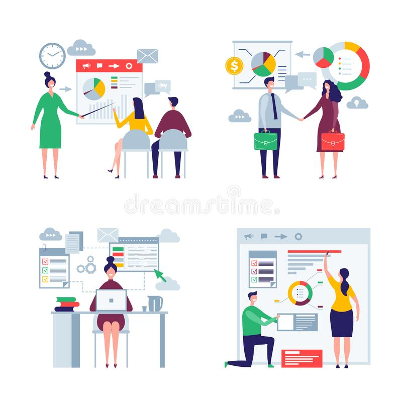 Business oversize peoples. Male and female office managers directors workers business team vector flat characters. Illustration of businessman and employee vector illustration