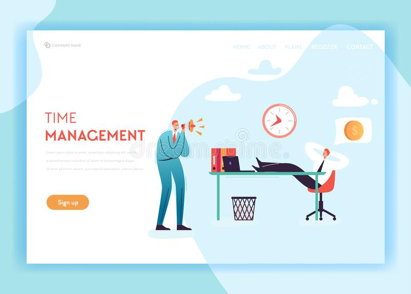 Business Overtime Landing Page Template. Working Late Concept with Lazy Office Worker and Boss Screaming in Megaphone. For Website Banner. Vector illustration vector illustration