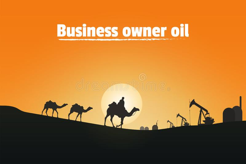 Business owner oil, Silhouette of camel riders in the desert royalty free illustration