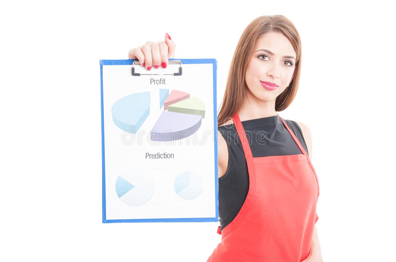 Business owner showing profit charts stock photos