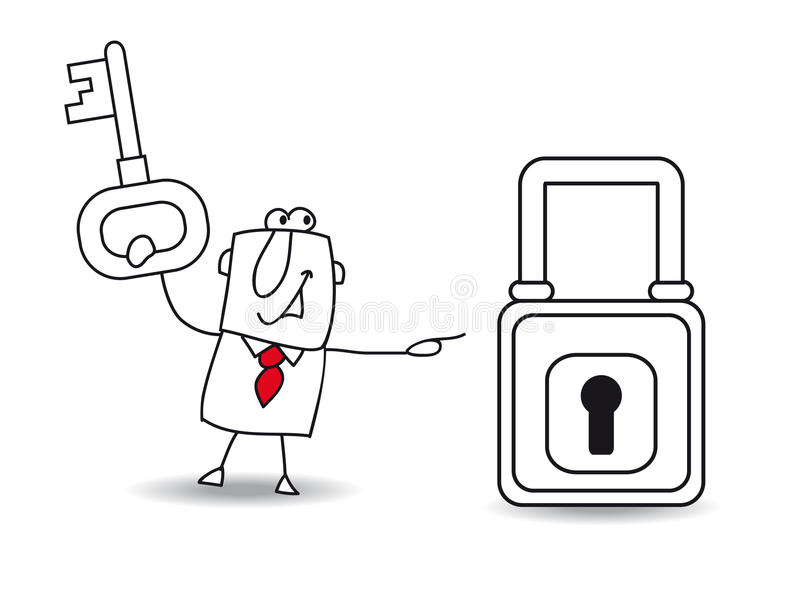 The business and the padlock. Joe with a key and a padlock. It is a metaphor of security or the metaphor to find a solution vector illustration