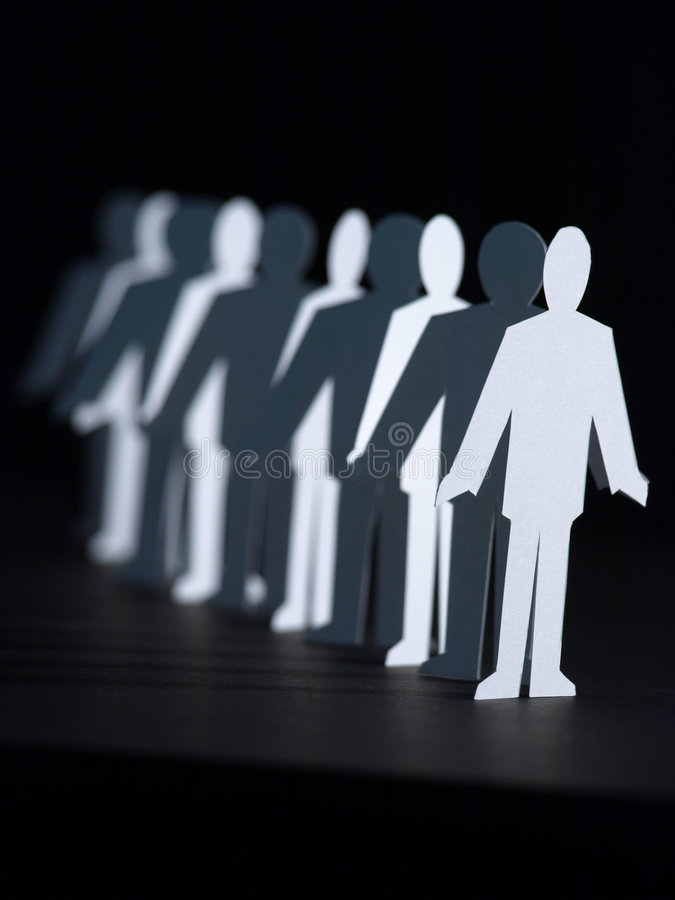 Download Business Paper Dolls In Line Stock Photo - Image: 8098408