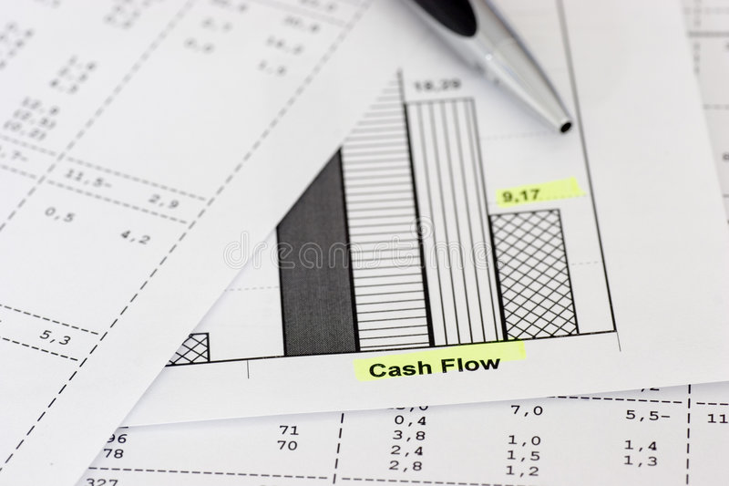 Business papers and ballpen. Business papers with ballpen focus on the words cash flow royalty free stock images