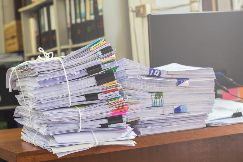 Business papers pile reports royalty free stock photo