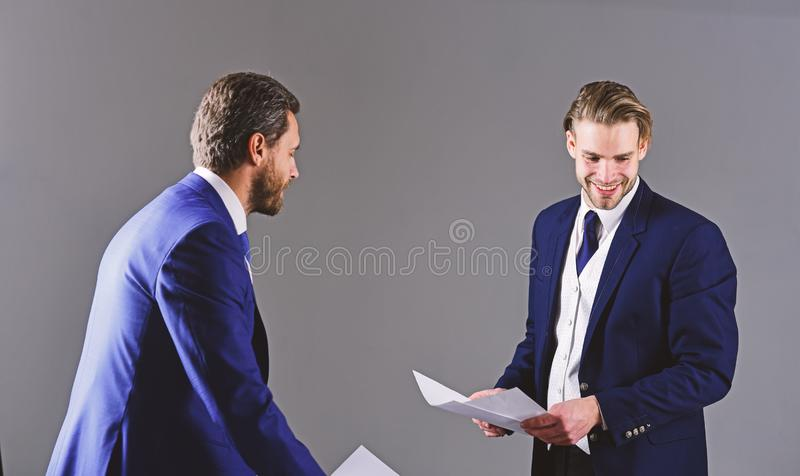 Business and paperwork concept. Men in suit or businessmen royalty free stock images