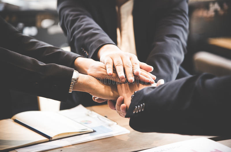Business partner people joining hand after contract finished meeting royalty free stock photos