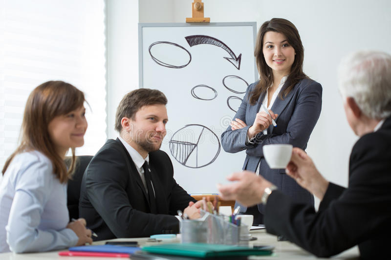 Business partners analyzing company situation royalty free stock photos