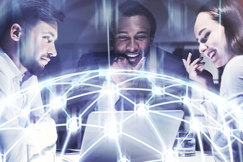 Business partners brainstorming, network royalty free stock image