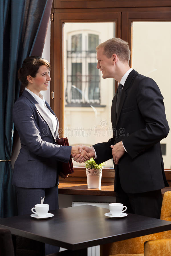 Business partners after business meeting stock images