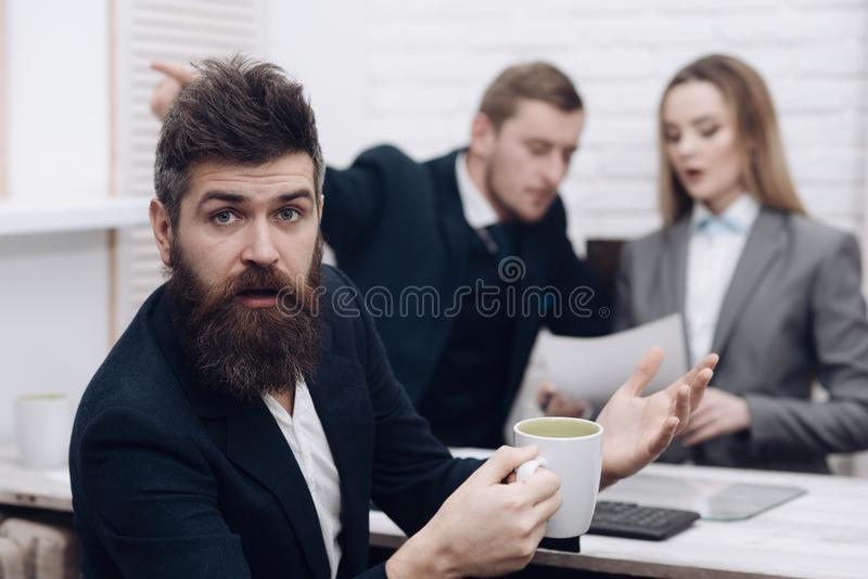 Business partners or businessman at meeting, office background. Negotiations concept. Business negotiations, discuss stock photography