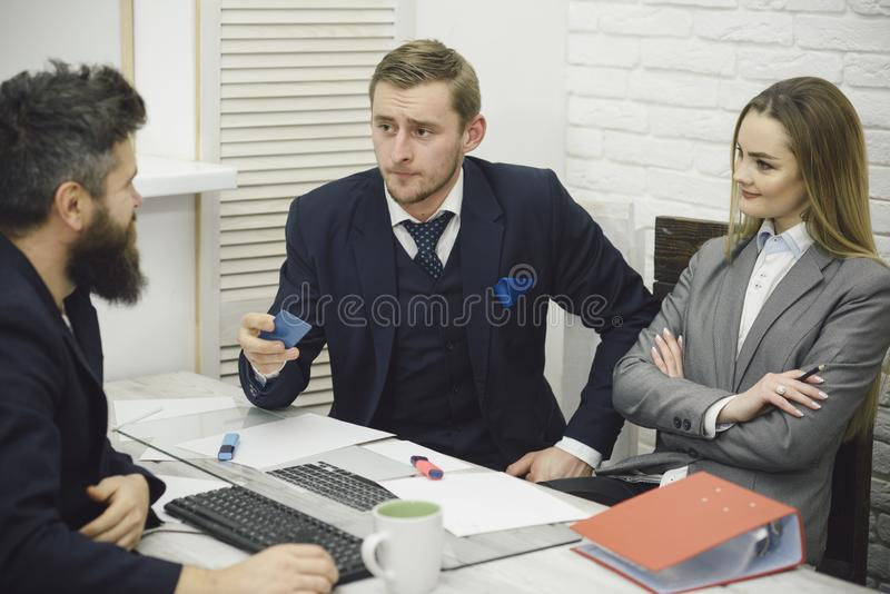 Business partners, businessmen at meeting, office background. Business crediting and investing concept. Businessman ask stock images
