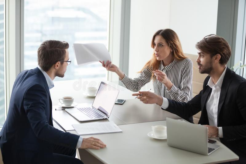 Business partners disagree with company CEO on contract terms. Diverse business partners disagree with company CEO on contract terms, people have dispute or royalty free stock photography