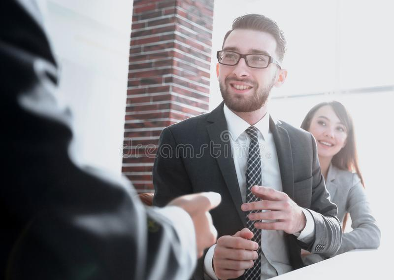 Business partners discuss the terms of the contract. Photo with copy space royalty free stock images