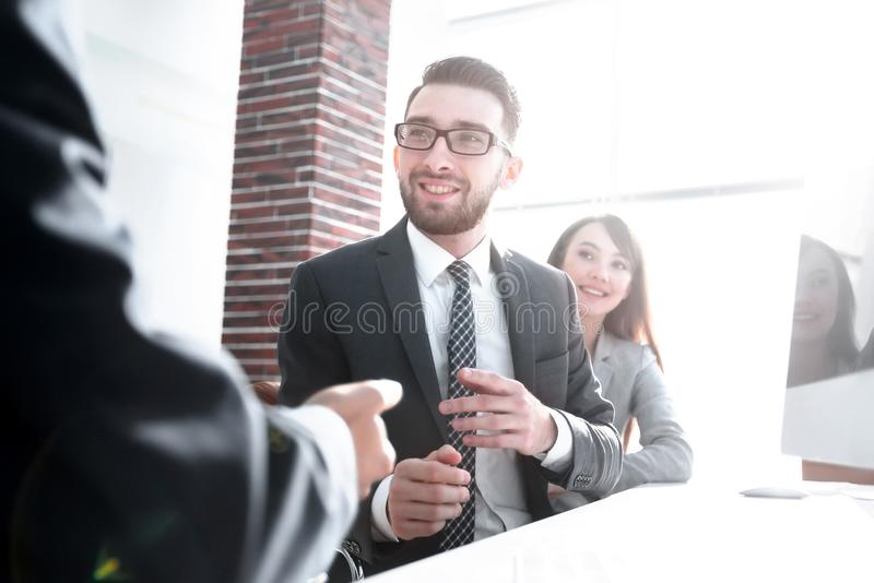 Business partners discuss the terms of the contract royalty free stock photos
