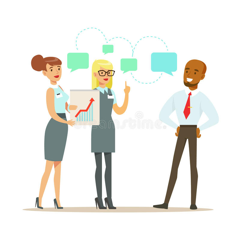 Business partners discussing financial results at meeting. Colorful cartoon character royalty free illustration