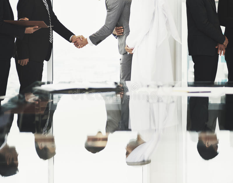 Business Partners Introductionary Handshake Bow stock photos