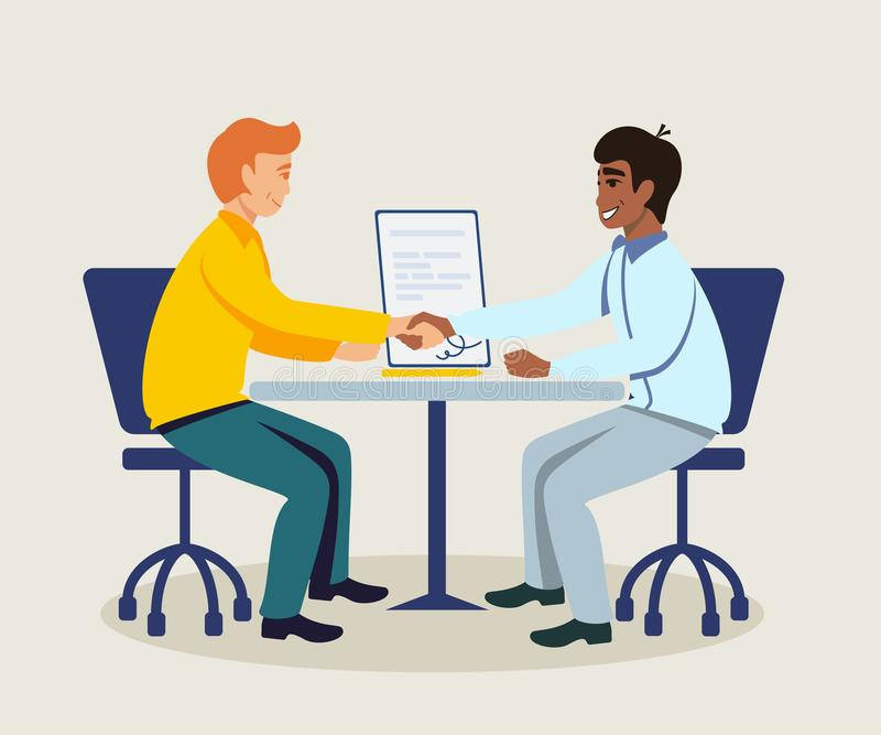 Business partners making agreement illustration royalty free illustration