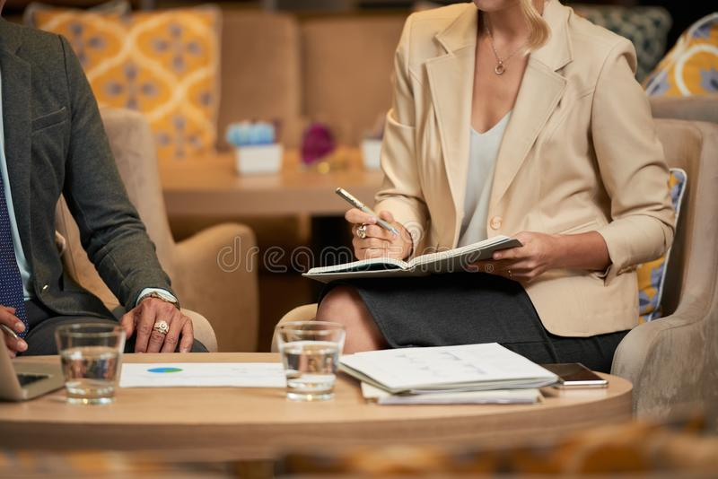 Business partners meeting in restaurant stock photos