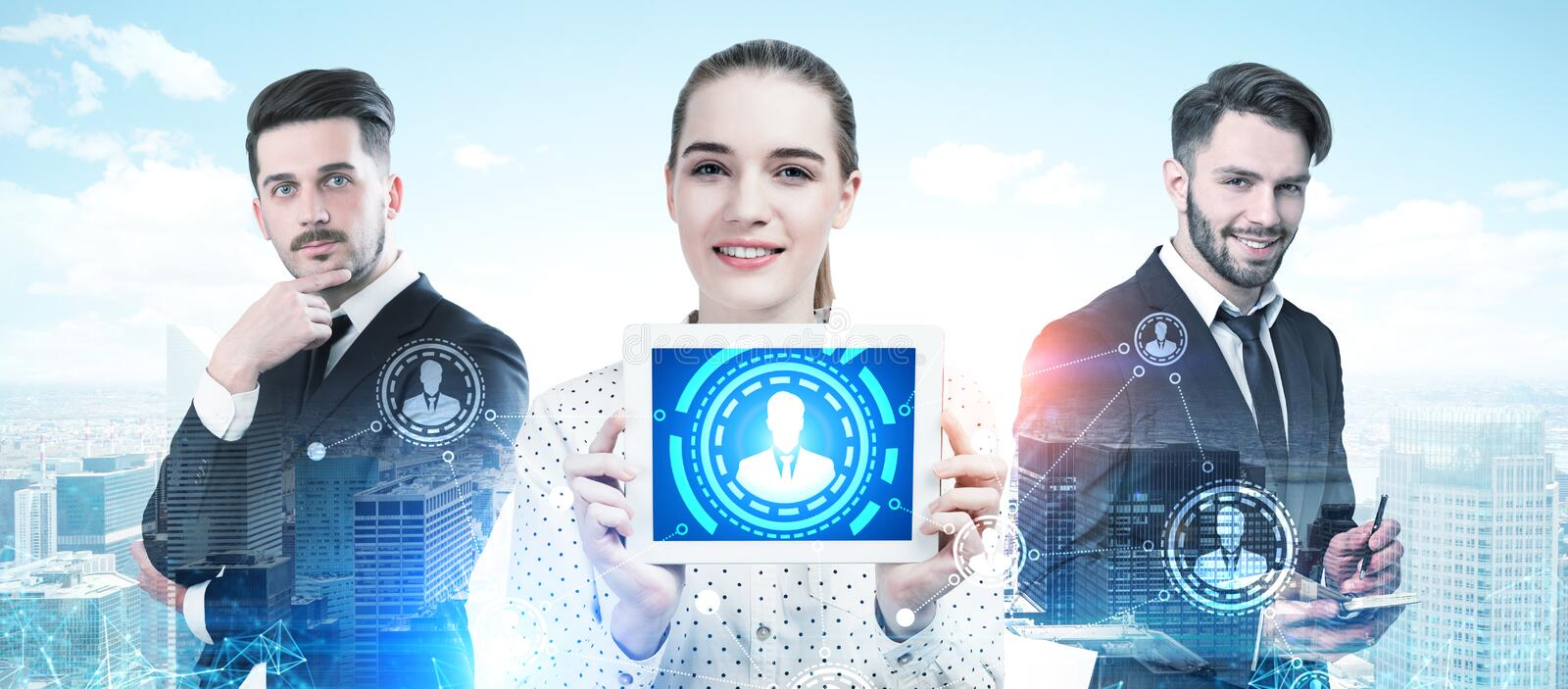 Business partners portrait in a city, HUD, HR stock images