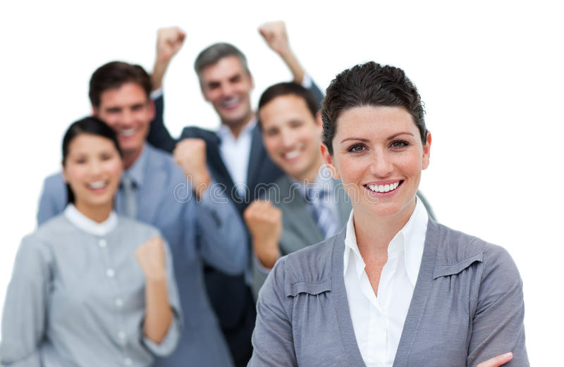 Business partners punching the air in celebration stock photography