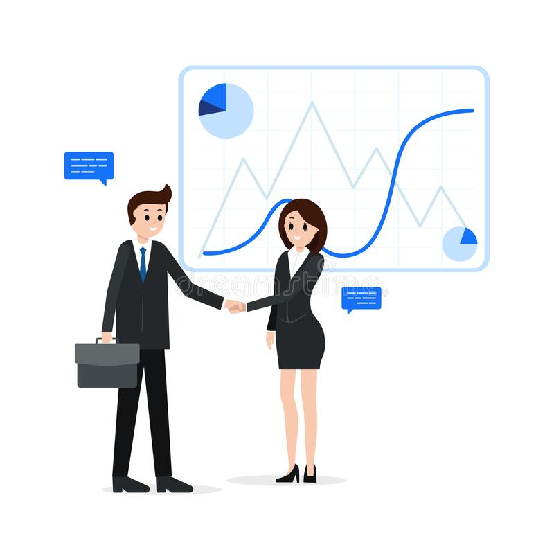 Business partners shaking hands. Cartoon smiling businessman and businesswoman after bargaining successful deal vector illustration. Agreement collaboration stock illustration