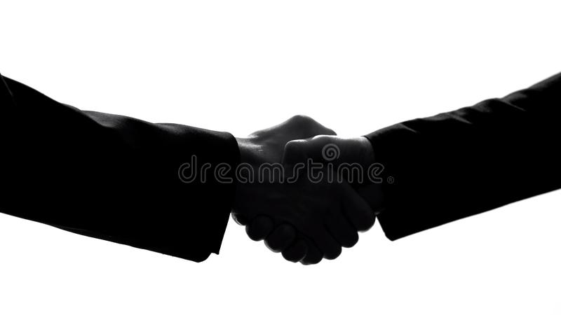 Business partners shaking hands, company agreement, colleagues cooperation royalty free stock images